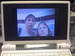 Self portraits on an eee pc at Dixons, Gatwick airport