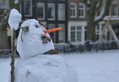 Snowman at the Herenmarkt downtown Amsterdam