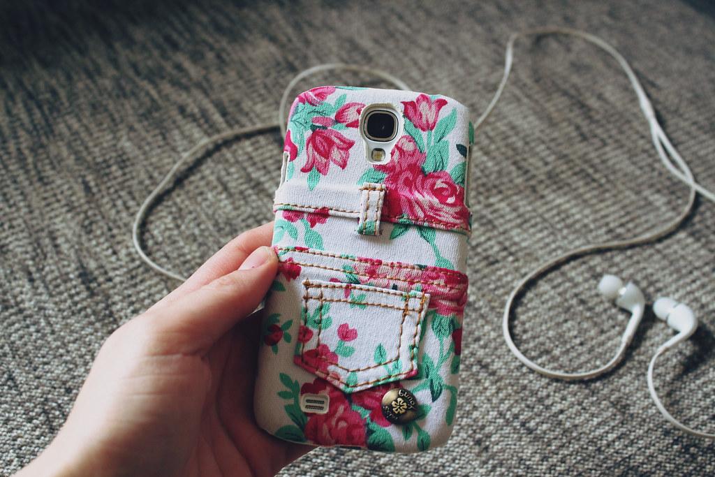 samsung galaxy s4, floral print phone case