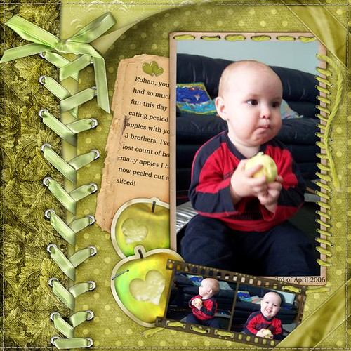 Rohan eating apples scrapbooking page with ribbon ties