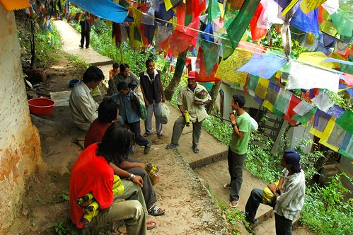 Prayer Flag salesmen convention, upper, Pharping, Nepal by Wonderlane