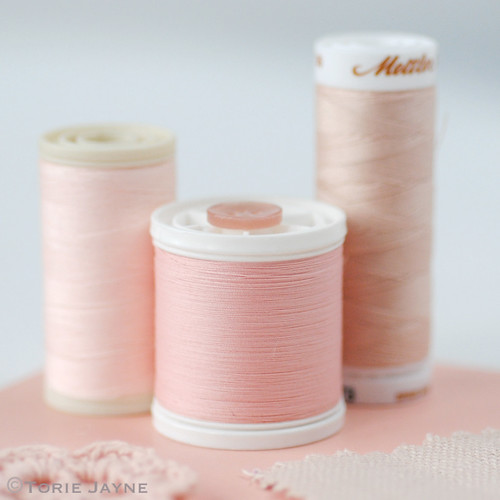 Peach sewing thread
