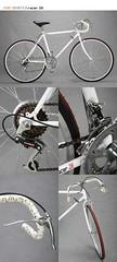 glasses(0.0), mountain bike(0.0), tarmac(0.0), road bicycle(1.0), wheel(1.0), vehicle(1.0), sports equipment(1.0), hybrid bicycle(1.0), cyclo-cross bicycle(1.0), racing bicycle(1.0), groupset(1.0), iron(1.0), land vehicle(1.0), bicycle wheel(1.0), bicycle frame(1.0), bicycle(1.0),