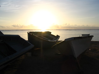 Obraz Albion Public Beach. ocean sunset sea sun beach mauritius pirogue albion fishermanboat