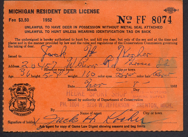 1952 michigan resident deer hunting license ff8074 for Michigan non resident fishing license