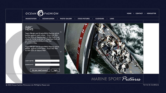 oceanfashion - homepage design