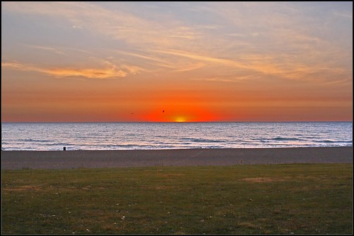 Beach in Kenosha w/ Hot Sunrise
