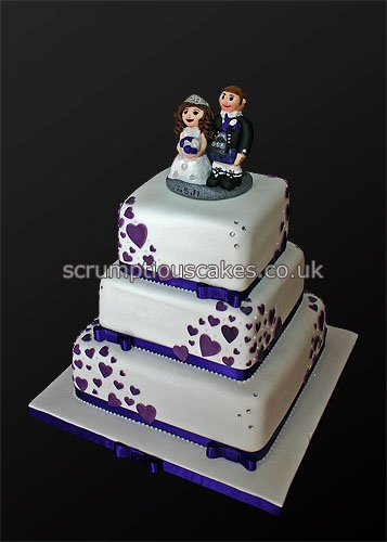 wedding cake with hearts wedding cake 724 purple hearts flickr photo 26905