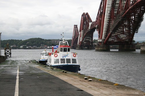 Maid of the Forth & Smit Young berthed beside Forth Rail bridge at Hawes Pier