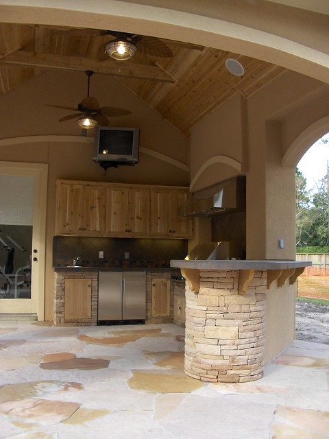 Stucco Pool House With Outdoor Kitchen 5 Flickr Photo