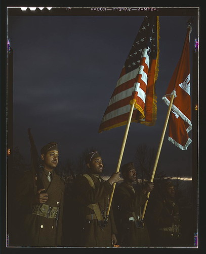 Color guard of Negro engineers, Ft. Belvoir(?), [Va.]  (LOC)