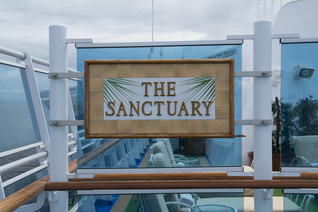 Entrance sign for The Sanctuary, the adult only pool on Ruby Princess