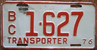 BRITISH COLUMBIA 1976 ---TRANSPORTER PLATE