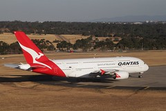Qantas A380 VH-OQA parked up the north end of taxiway A