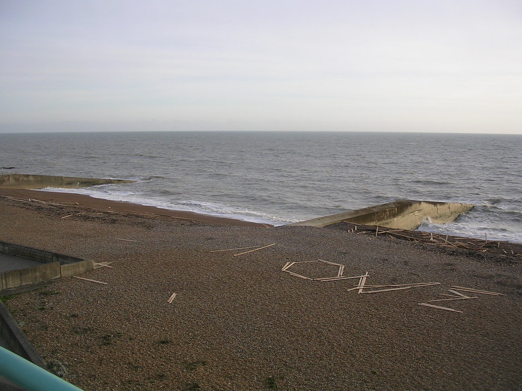 Washed up wood All the way to Brighton, along the beach, people had spelt messages and built 'teepee's with timber washed up from the Ice Prince, which sank recently near Dorset. Saltdean. Lewes to Saltdean via Rodmell