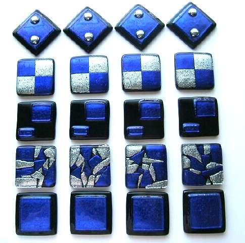 custom tile in cobalt blue dichroic glass by uneek glass