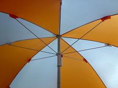 orange, umbrella, symmetry, line,