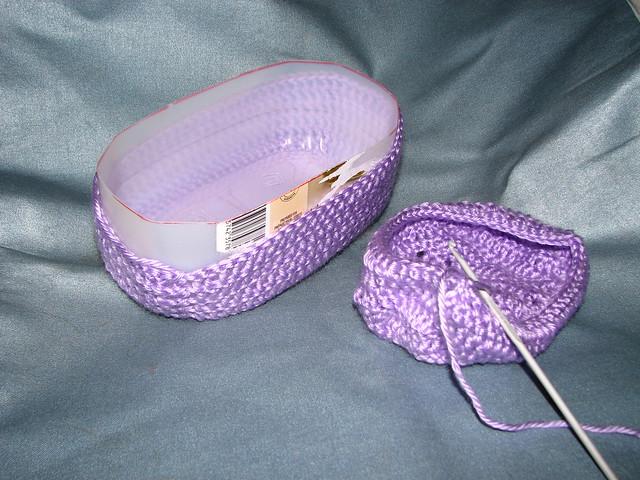 Crochet Bag Pattern Cotton : crochet cradle purse with vinegar bottle Flickr - Photo ...