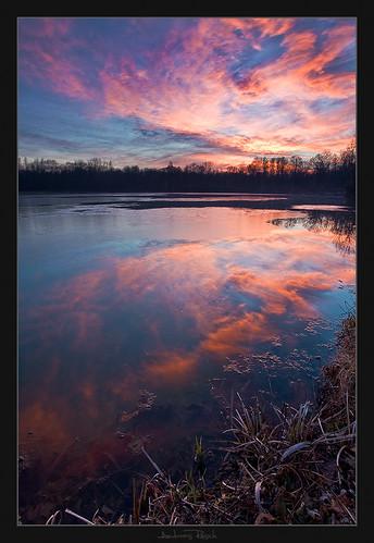 sunset sky lake austria styria