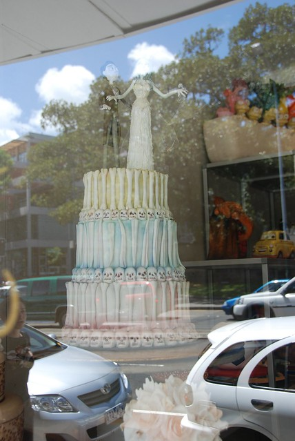 sweet art sunny day in sydney corpse bride wedding cake in window and lots