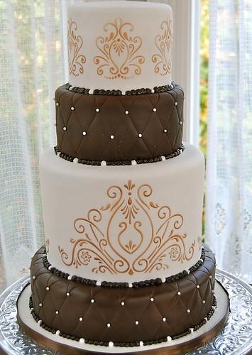 Brown White And Gold Wedding CakeTheBridalBlog.com Wedding Tips ...