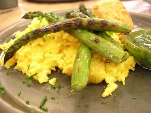 rose bakery: scrambled eggs, asperagus, salsa verde, cheese scone