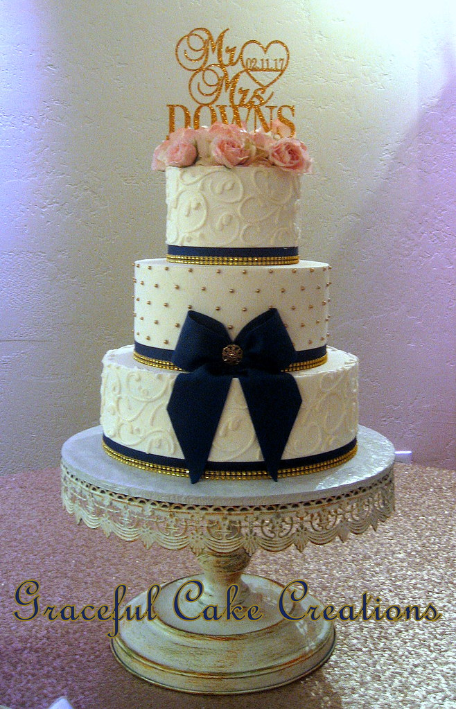 Blue And Gold Butter Cream Cakes