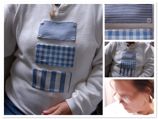 Patchwork on sweater -Copyright Hanna Andersson