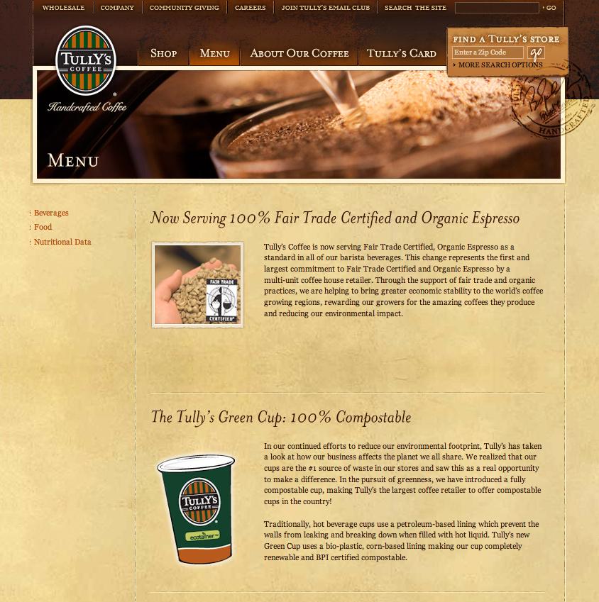 Tully.com Menu