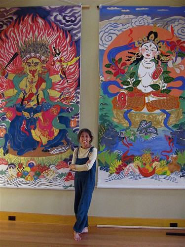 Mayumi and her paintings