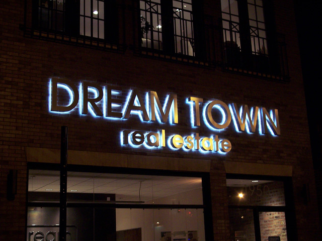dream-reverse-lit-channel-letter. Dream Town - Halo-Lit Fabricated Letters. 1 Photo Exterior Use LED Halo Lit Fabricated Channel Letters & Exterior Outdoor Lighted Signs | Impact Signs