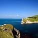 Lulworth cove Dorset England by Trevor Hare