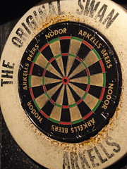 recreation(0.0), dartboard(1.0), indoor games and sports(1.0), sports(1.0), games(1.0), darts(1.0), circle(1.0),