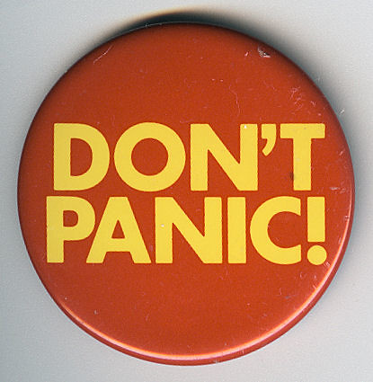 Don't Panic Badge by Jim Linwood, on Flickr
