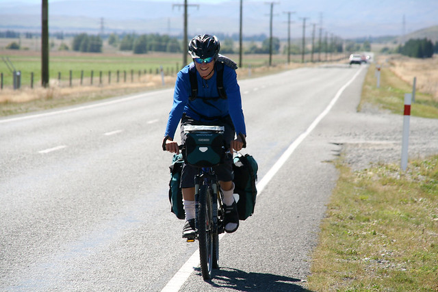 touring cyclist Daniel near Twiyel, New Zealand