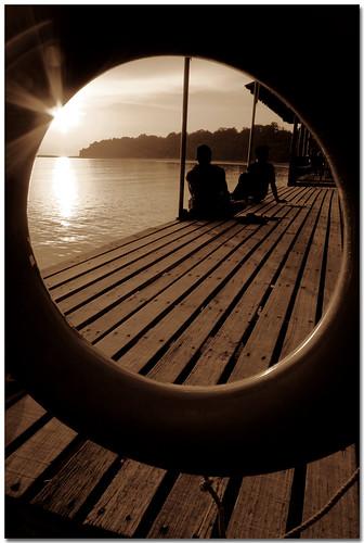 sunset vacation sun beach water sepia canon evening pier perspective safety pole malaysia float sabah kk canon1022mm divingtrip pulautiga 400d mywinners impressedbeauty theperfectphotographer