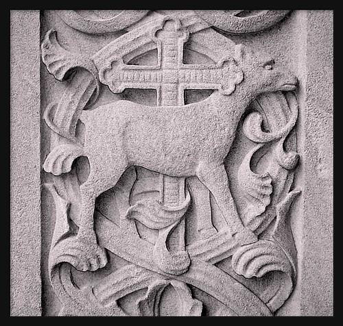 Detail stone carving saint aloysius roman catholic