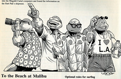 "Palladium Books presents ""Turtles go Hollywood"" by Daniel Greenberg :: To The Beach at Malibu ..art by Kevin Long (( 1990 ))"