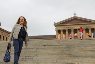 Philadelphia Museum of Art - Rocky steps with Jane Finnis