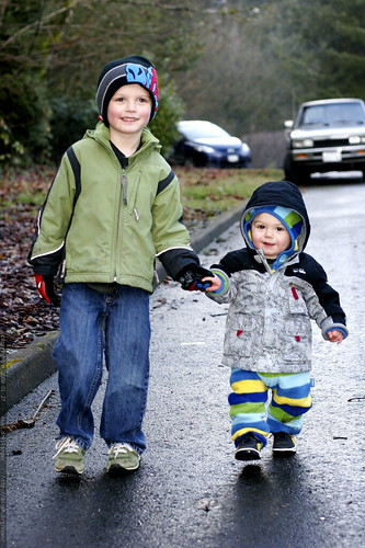 nick, holding hands and showing his little brother how to walk down a steep hill    MG 9322