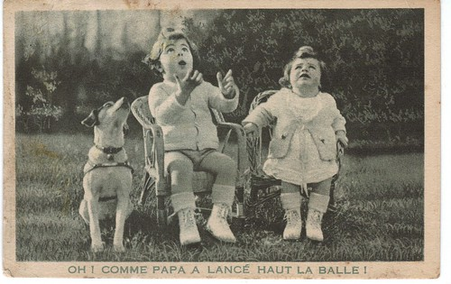 Vintage French children and dog
