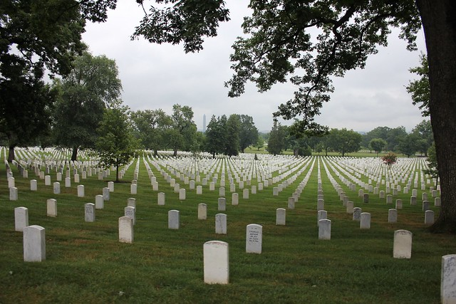 Picture of rows upon rows of headstones at Arlington National Cemetery