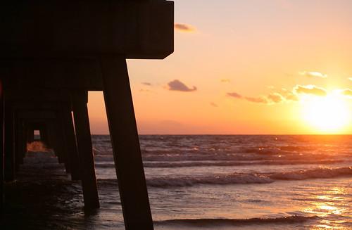 sky beach sunrise pier waves florida jacksonville