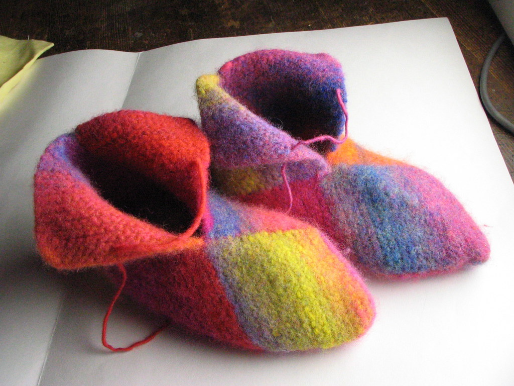 Knitting Pattern For Jester Wool : Finished: Knitted jester slippers Flickr - Photo Sharing!