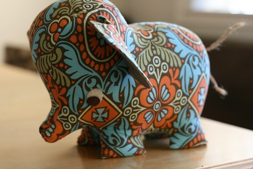 Peanut the Wee Elephant in Amy Butler fabric