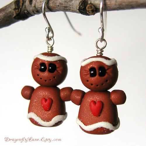 Gingerbread girl earrings