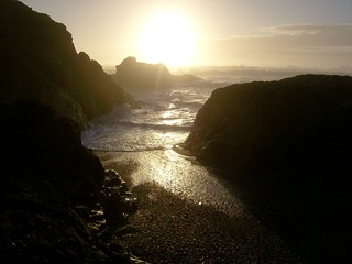 Sunset at Glass Beach at Fort Bragg, where beads of smoothed glass mix in with the sand below - glassbeach34