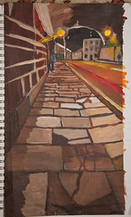 Done with acrylic paint in a warm colour scheme to make it look like a chocolate street A3 sized 2012...