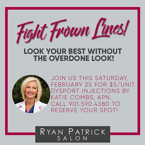 Fight frown lines by calling 901.590.4380 today to reserve your spot! This Saturday only! #RyanPatrickSalon #Choose901 #ErinDrive #Memphis #Beauty #TreatYourself