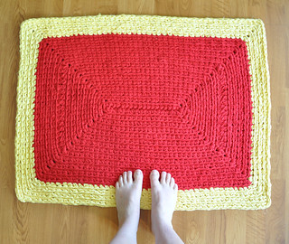 Red and Yellow Rectangle Rug